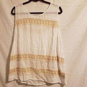Merona cream pheasant top sleeveless  Size XXL